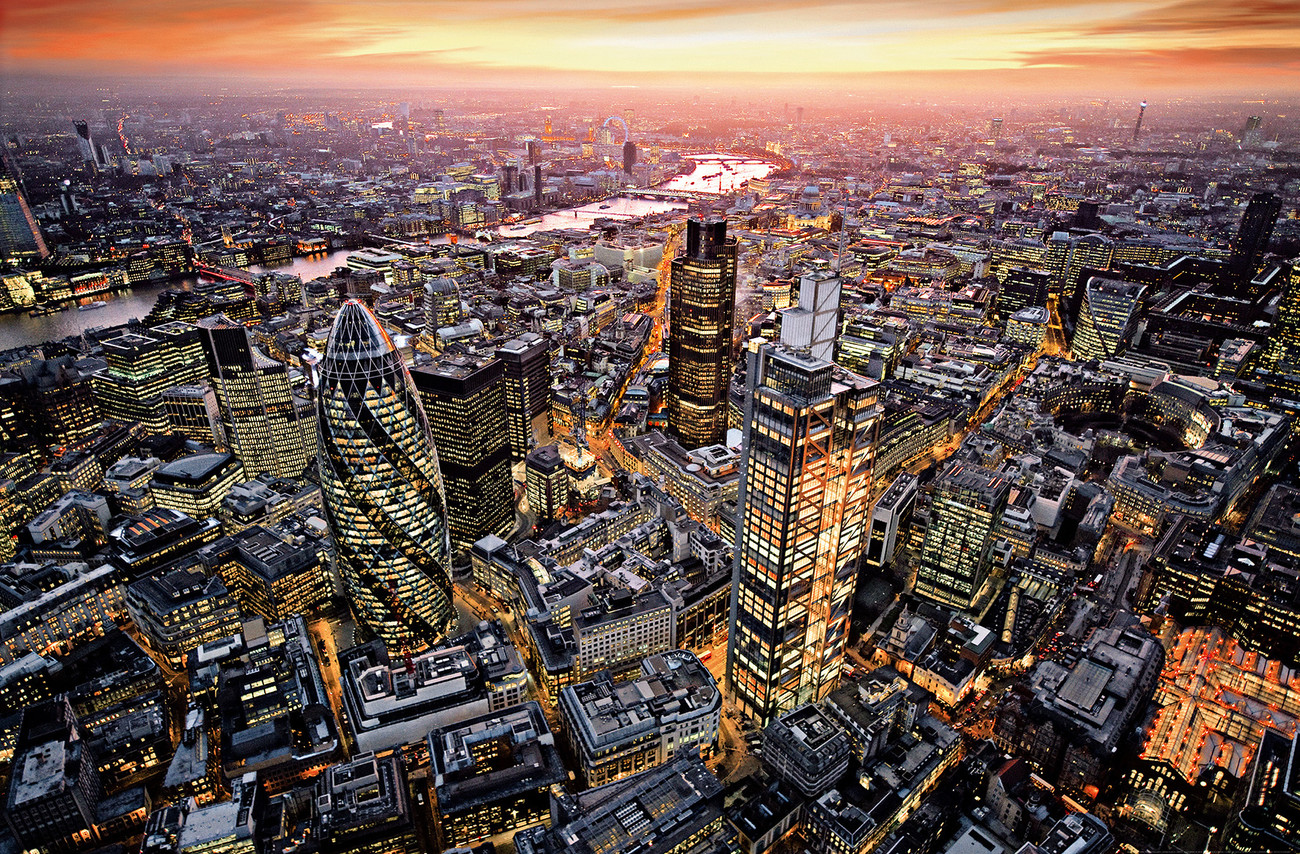 Skyline aerial view of London